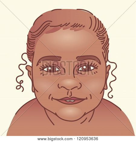 Happy afro baby cartoon portrait vector illustration