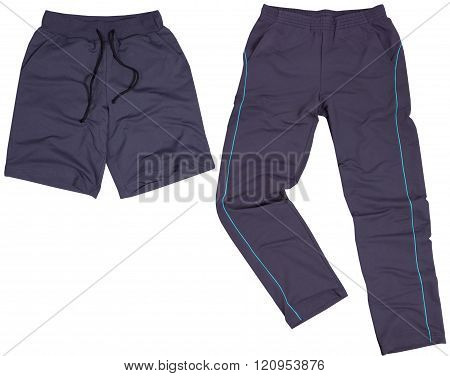 Set of male shorts and sweatpants. Isolated on white background.
