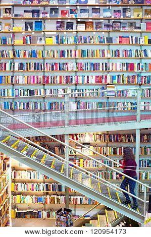 Huge Bookstore. Lisbon, Portugal