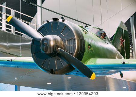 World War II Soviet russian fighter I-16 In The Belarusian Museu