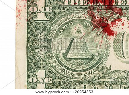 Us One Dollar Bill, Close Up, Blood