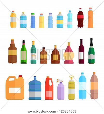 Bottle Set Design Flat Oil and Beverage