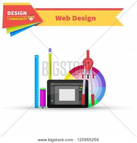 Web Design Graphic Tablet and Tool