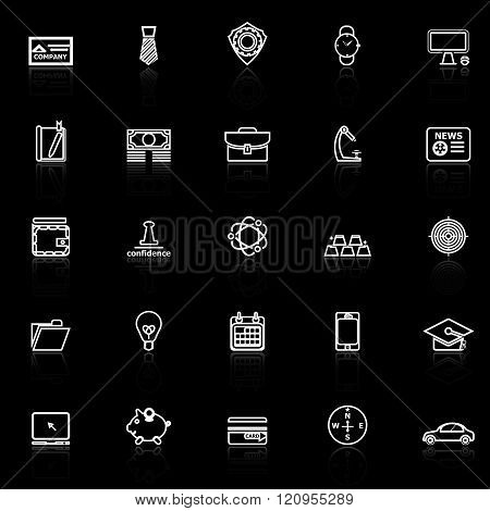 Businessman item line icons with reflect on black background stock vector
