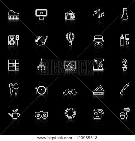 Art activity line icons with reflect on black background stock vector