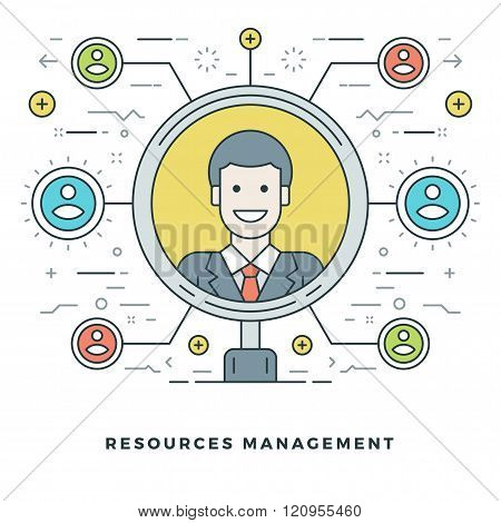 Flat line Team Building and Resources Management Concept. Vector illustration.