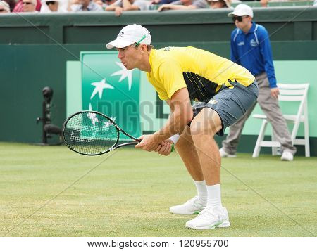 John Peers during Davis Cup doubles the Brian Brother