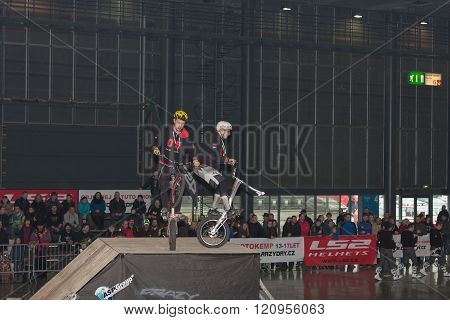 Stunts riding  bikes during stunt show