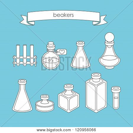 Set Of  Apothecary And Medical Beakers, Laboratory Flasks
