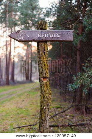 German Signpost Reitweg, Bridlepath