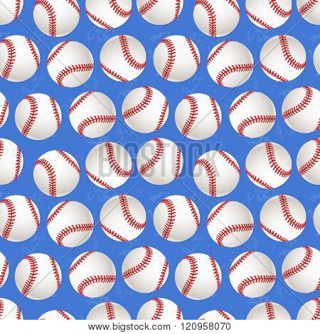 A lot of baseball balls on blue background seamless pattern