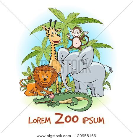 Zoo cartoon animals logo