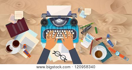 Hands Typing Text Writer Author Blog Typewrite Wooden Texture Desk Top Angle View