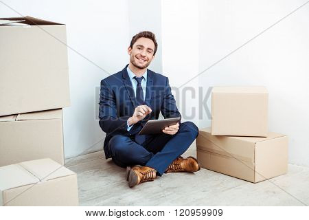 Businessman moving to new home