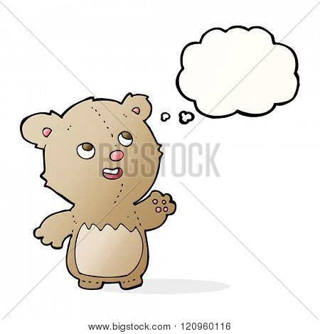 cartoon happy little teddy bear with thought bubble
