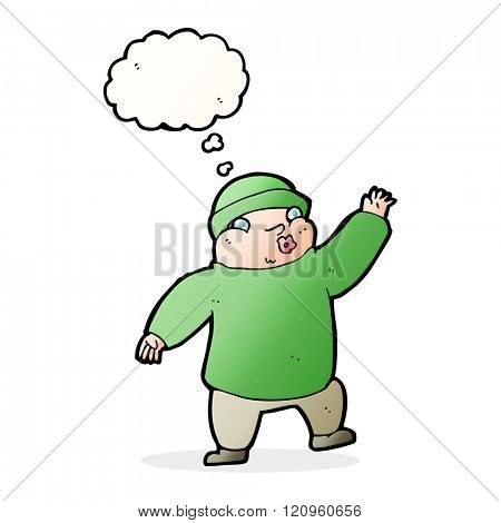 cartoon man in hat waving with thought bubble