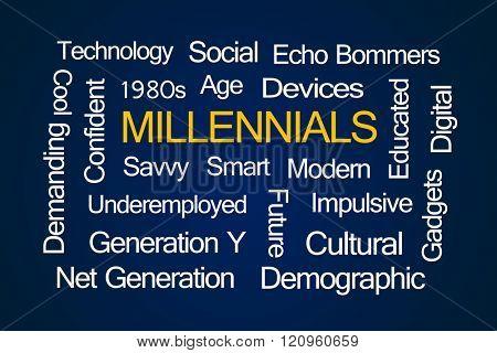 Millennials Word Cloud on Blue Background