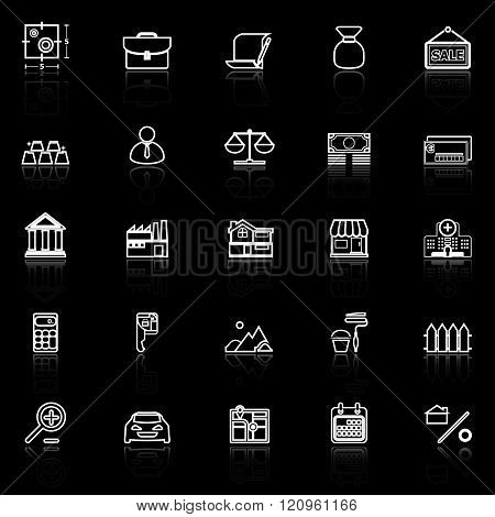Mortgage and home loan line icons with reflect on black stock vector