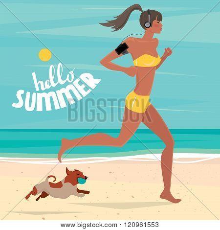 Girl Trains On The Beach