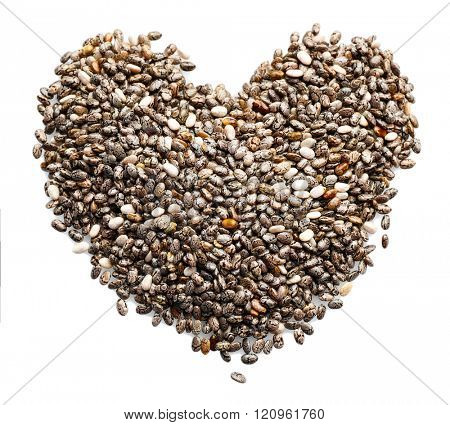 Chia seeds in heart shape, isolated on white