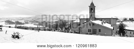 Langhe snowed vineyards, wintertime. Black and white photo