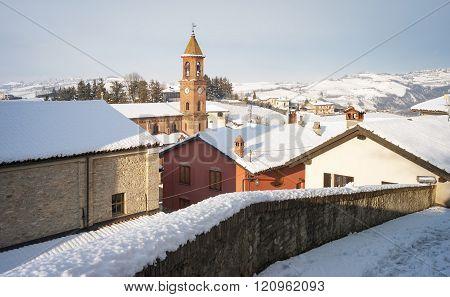 Serralunga d'Alba, winter snowed view. Color image
