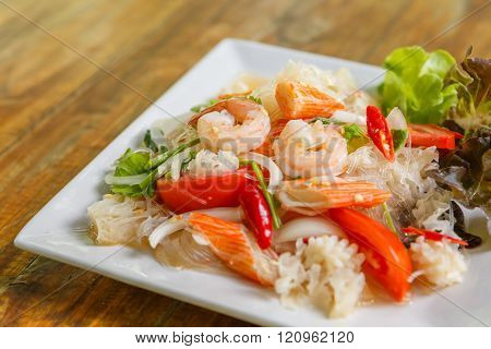 Photo of a Thai Vermicelli Salad on table