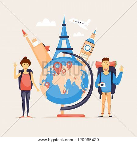 World Travel, summer vacation, tourism and journey, couple travels, traveling on airplane