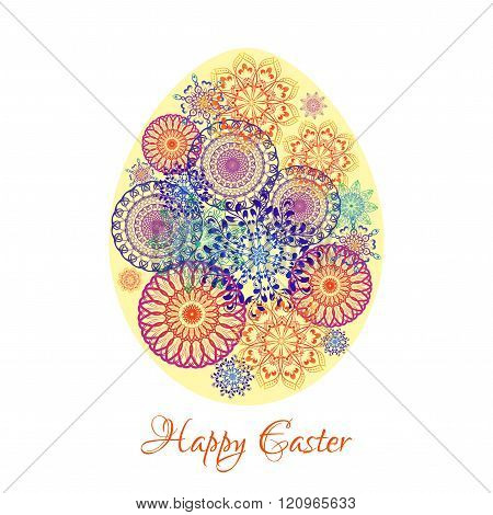 Floral mandala pattern in the shape of an egg. Happy Easter