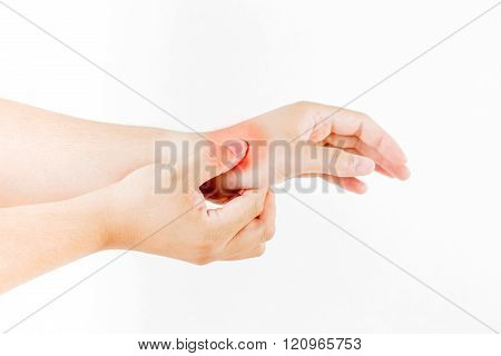 Hand Injury On White Background