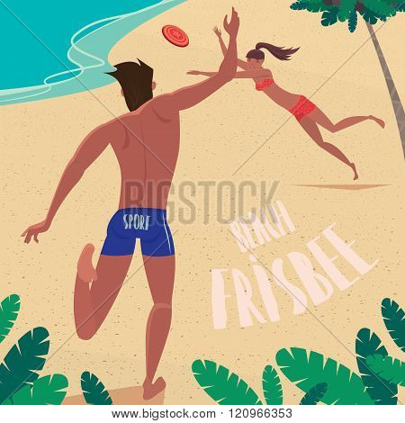 The Guy And The Girl Throw Each Other Flying Disc At The Sea