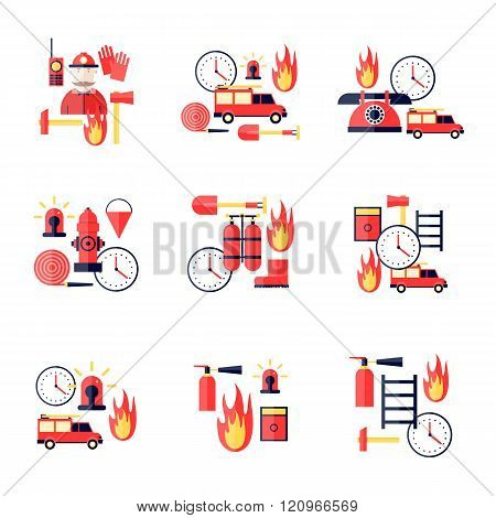 Firefighter, firefighting tools. Fire truck. Flat style vector illustration.