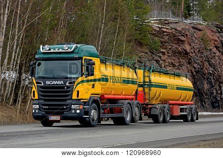 Colorful Scania Tank Truck On The Road