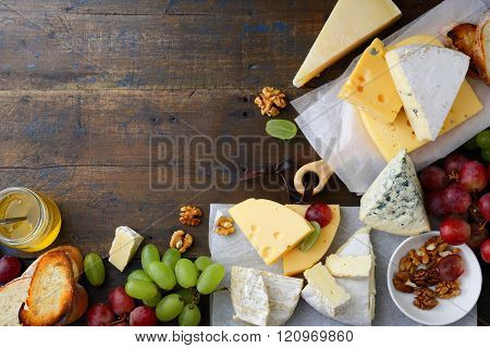 Different Types Of Cheeses With Empty Space Background