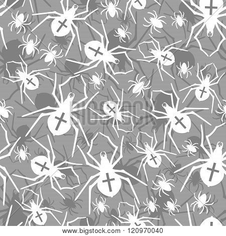 Vector spiders seamless pattern. Vector illustration.