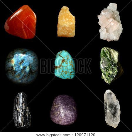 Set Of Various Mineral Rocks And Stones