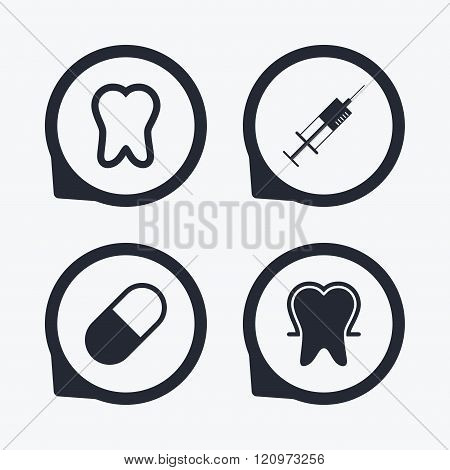 Tooth enamel icons. Medical syringe and pill.