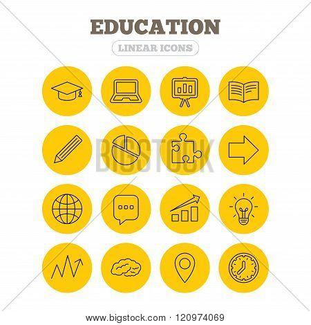 Education icon. Graduation cap, pencil and book.