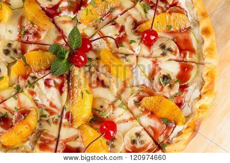 Closeup Dessert Food The Sweet Pizza