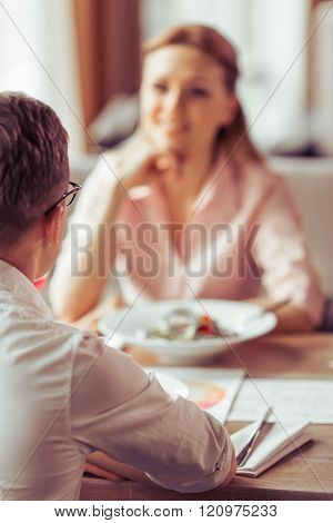 Business Lunch At Restaurant