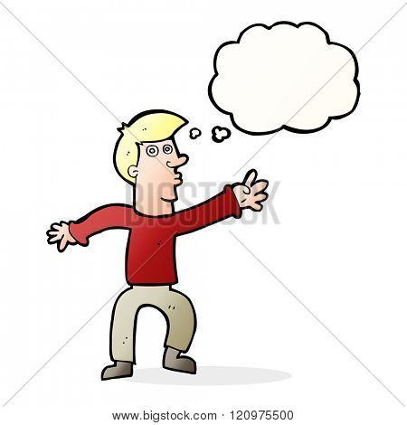 cartoon reaching man with thought bubble