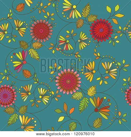Vector Pattern, Colorful Flowers In The Oriental Style. Interweaving Of Branches And Leaves.