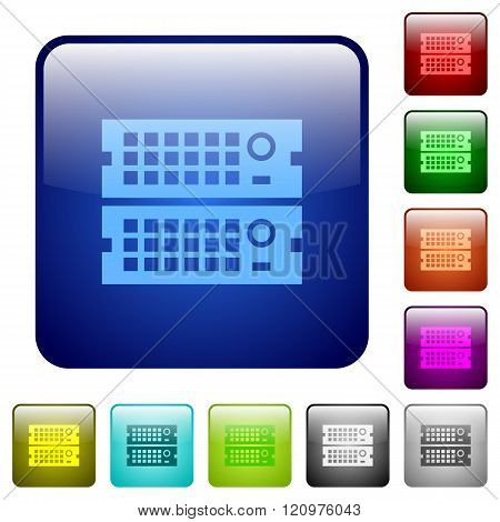 Color Rack Servers Square Buttons