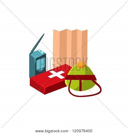 Camping First Aid Kit. Vector Illustration