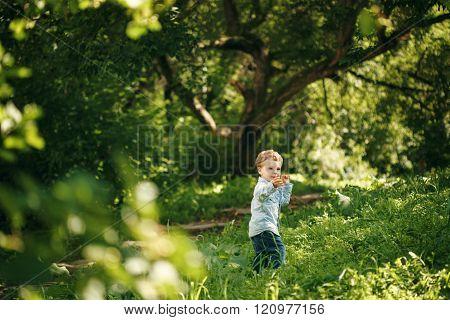 Cute Little Boy Having Fun In The Summer