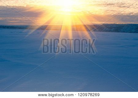 dawn over winter landscape