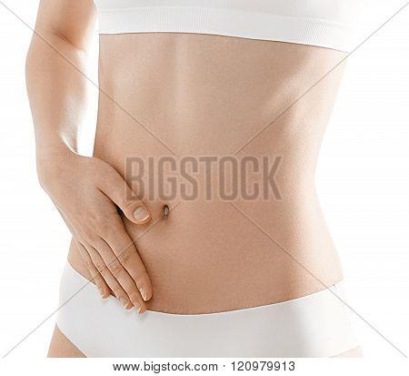 Woman Body. Stomach Hand Woman Studio On White