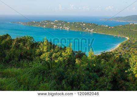 St. Thomas, US Virgin Islands Magen's Bay beautiful beach scene horizontal aerial from high above