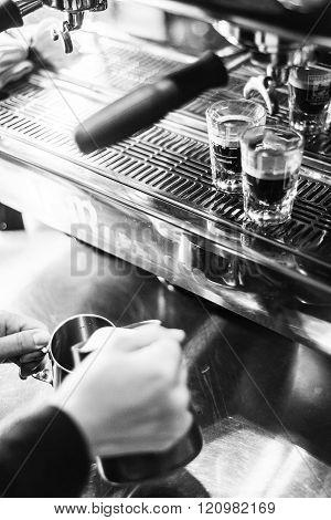 Detail Of Making Espresso Coffee With Machine Bw