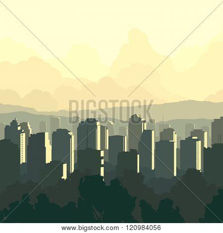 Square Illustration Of Big City At Sunset.